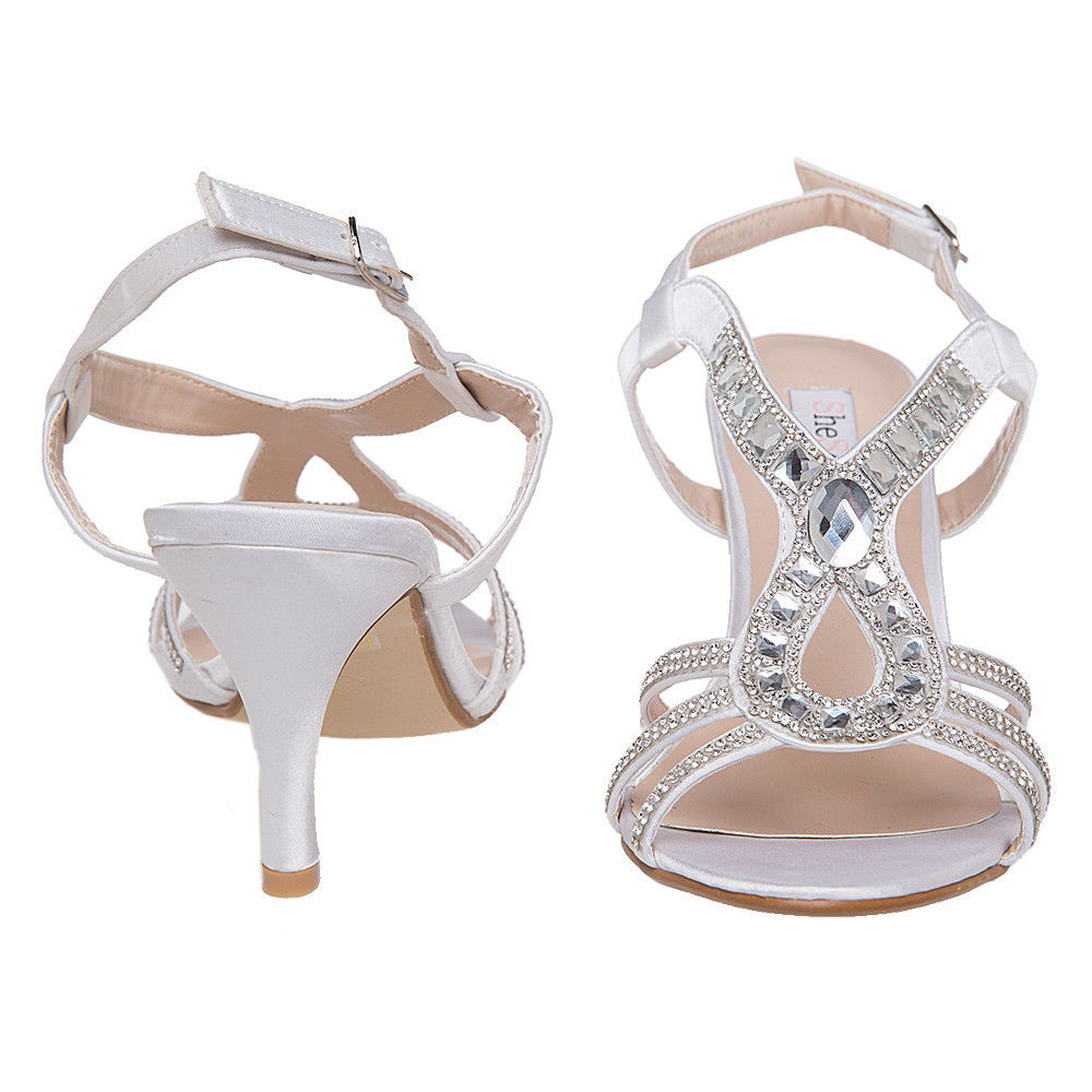 US SHIP SheSole Womens Rhinestone Low Heels Sandals Wedding Dress ...