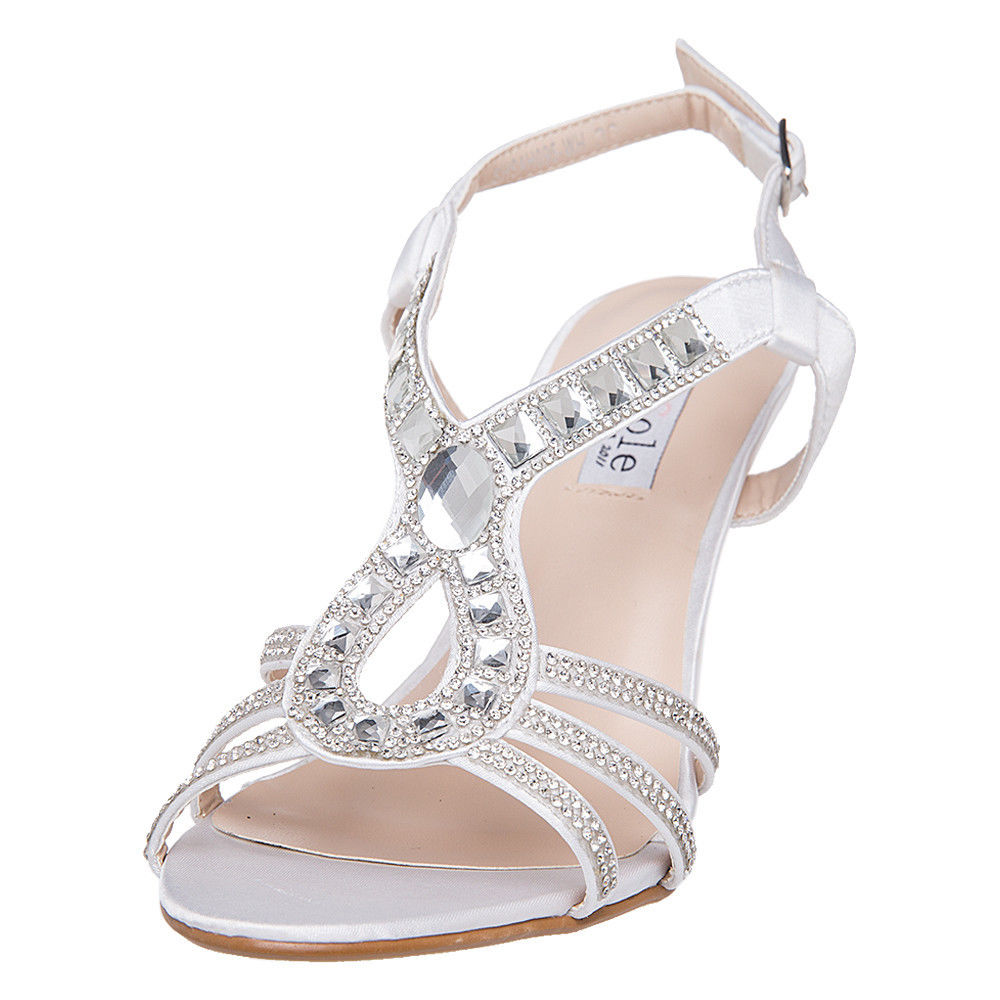 US SHIP SheSole Womens Rhinestone Low Heels Sandals