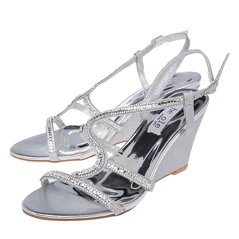 Wedding Dress Shoes: Women's High Heel Wedge Sandals Party Bridal Wedding Dress