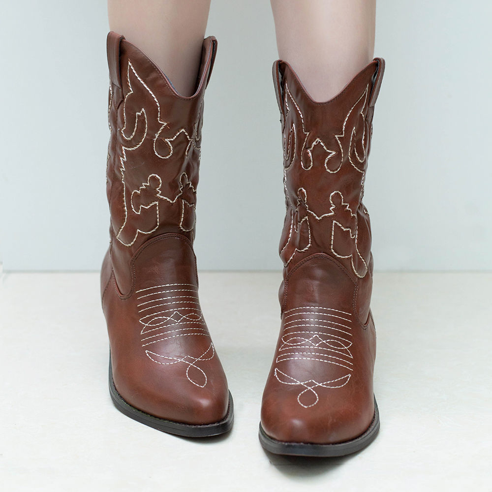 Womens Western Cowboy BOOTS Brown HEELS Pointed Toe Country Wedding ...