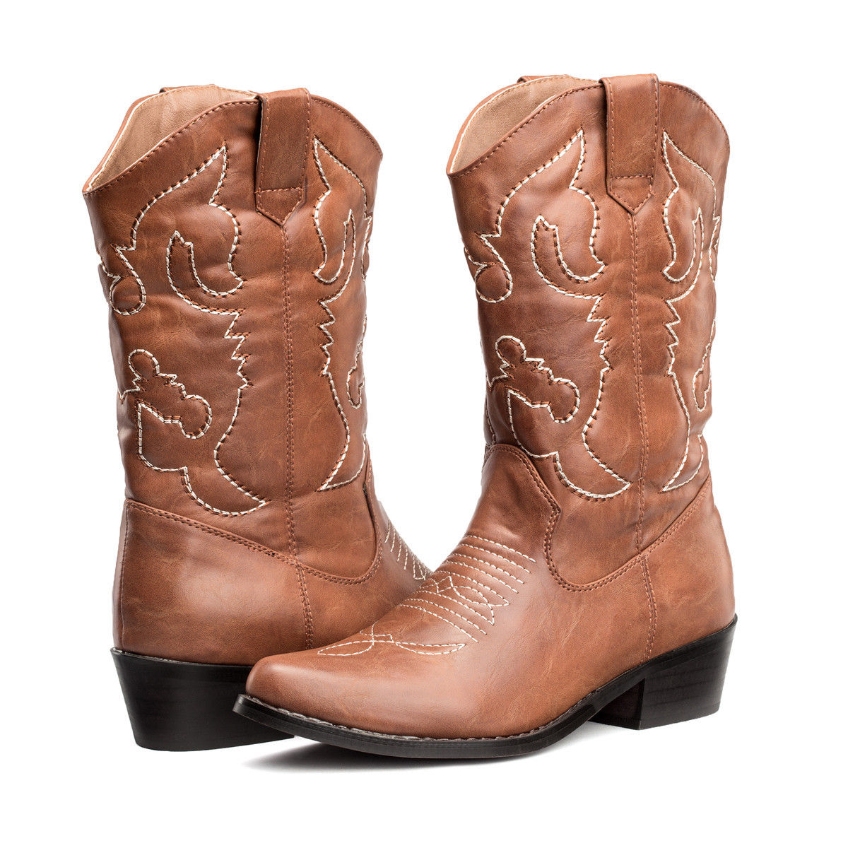 6d47b74fc0c Details about FREE SHIP Womens Cowboy Boots R Toe Western Wedding Shoes Mid  Calf US Size 6-11