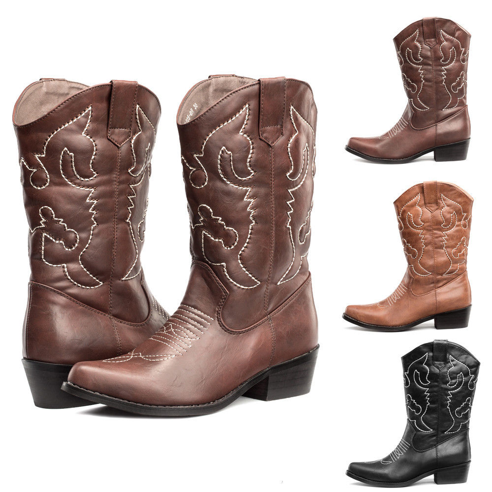 579817c05ca FREE SHIP WOMENS Cowboy Boots R Toe Western Wedding Shoes Mid Calf US Size  6-11