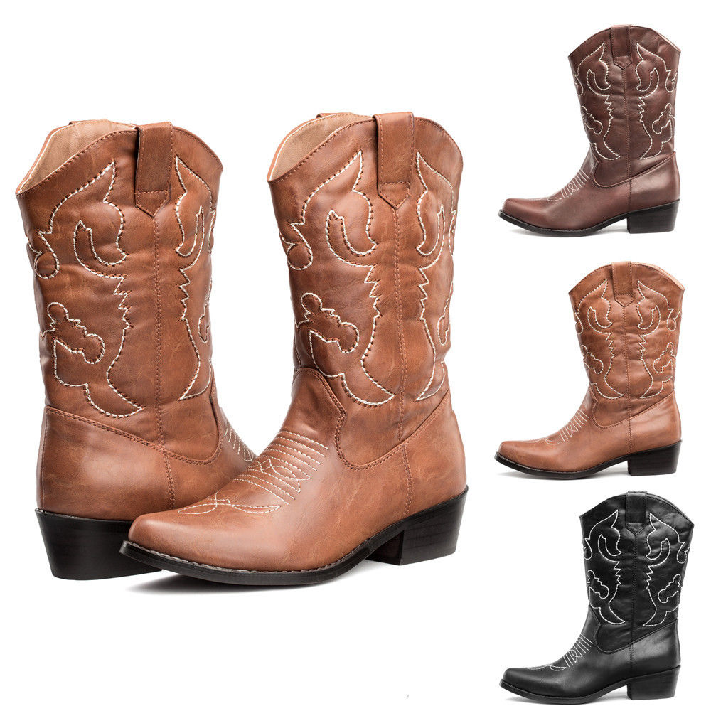 FREE SHIP Womens Cowboy Boots R Toe Western Wedding Shoes Mi