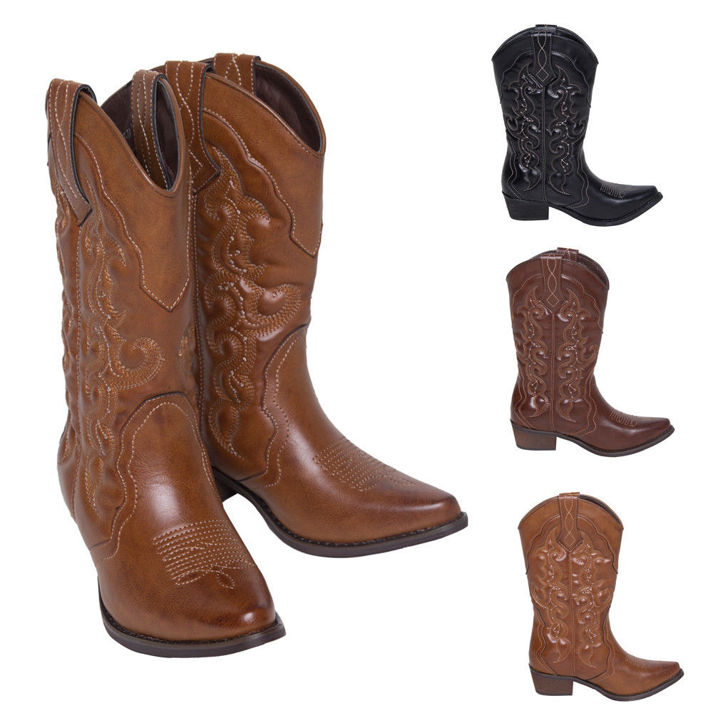 Womens Winter Western Cowboy Boots Mid Calf Wedding Shoes