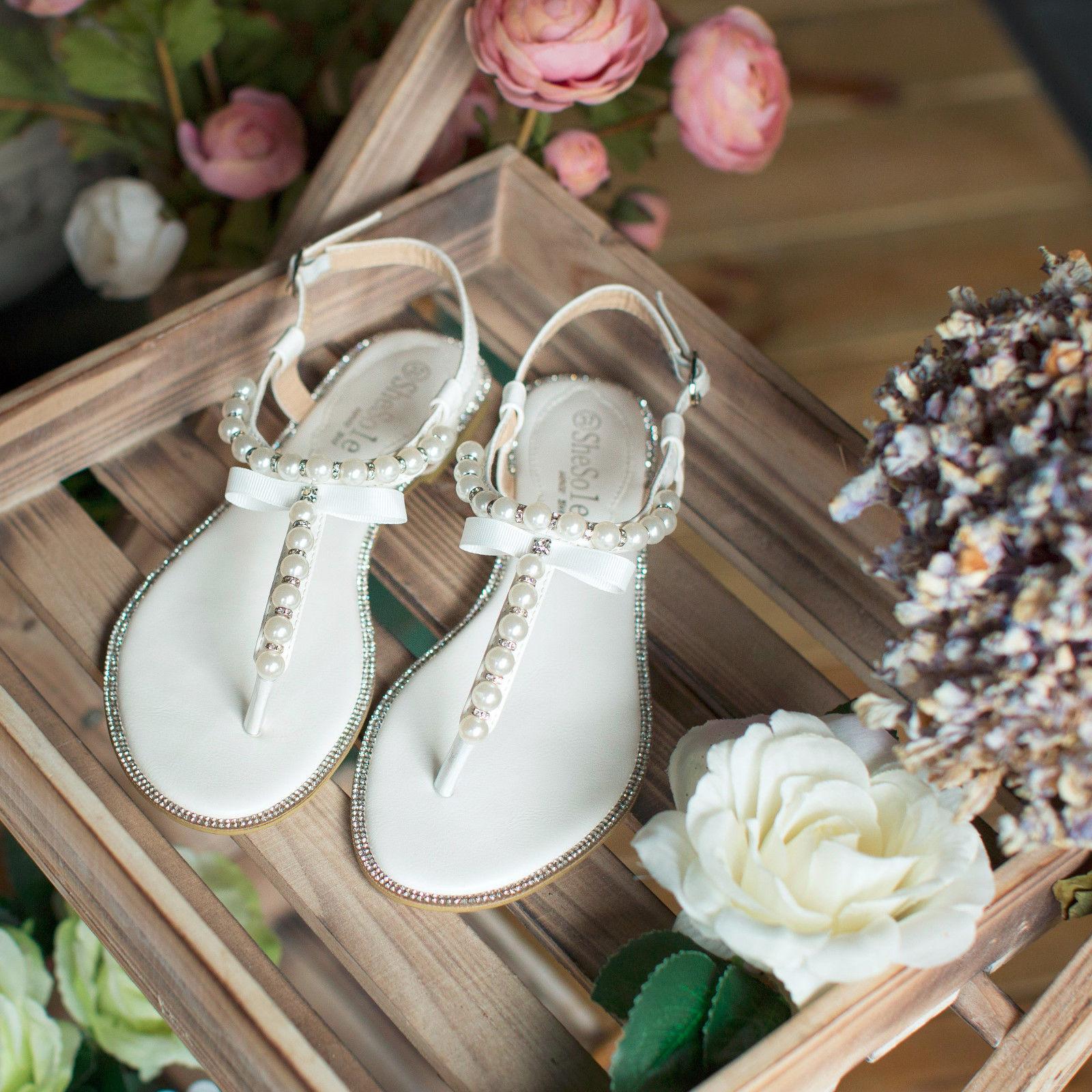 Shesole Womens Flat Sandals Flip Flops Beach Wedding Shoes -1410