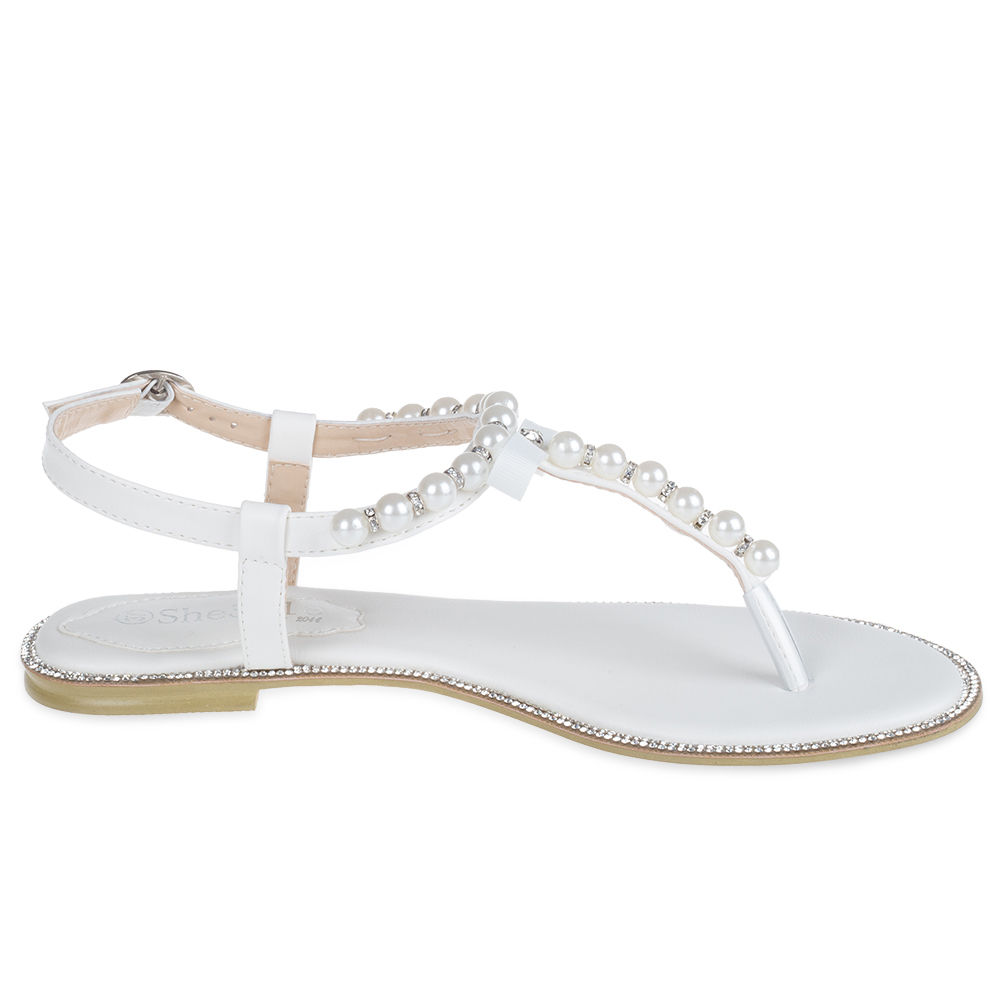 d34f55036 SheSole Womens Flat Sandals Flip Flops Beach Wedding Shoes Pearl T ...