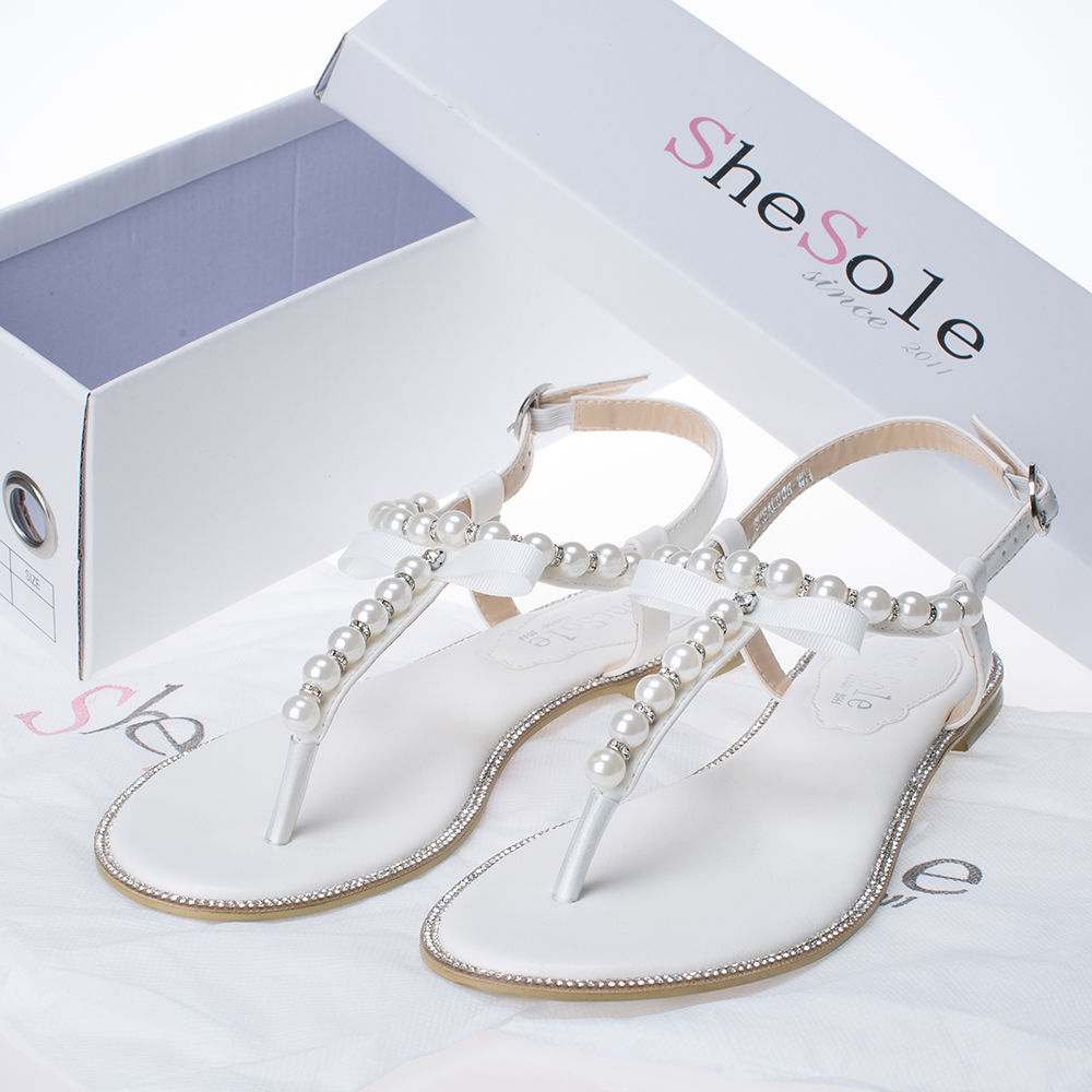 8b184bac3eed SheSole Womens Flat Sandals Flip Flops Beach Wedding Shoes Pearl T ...