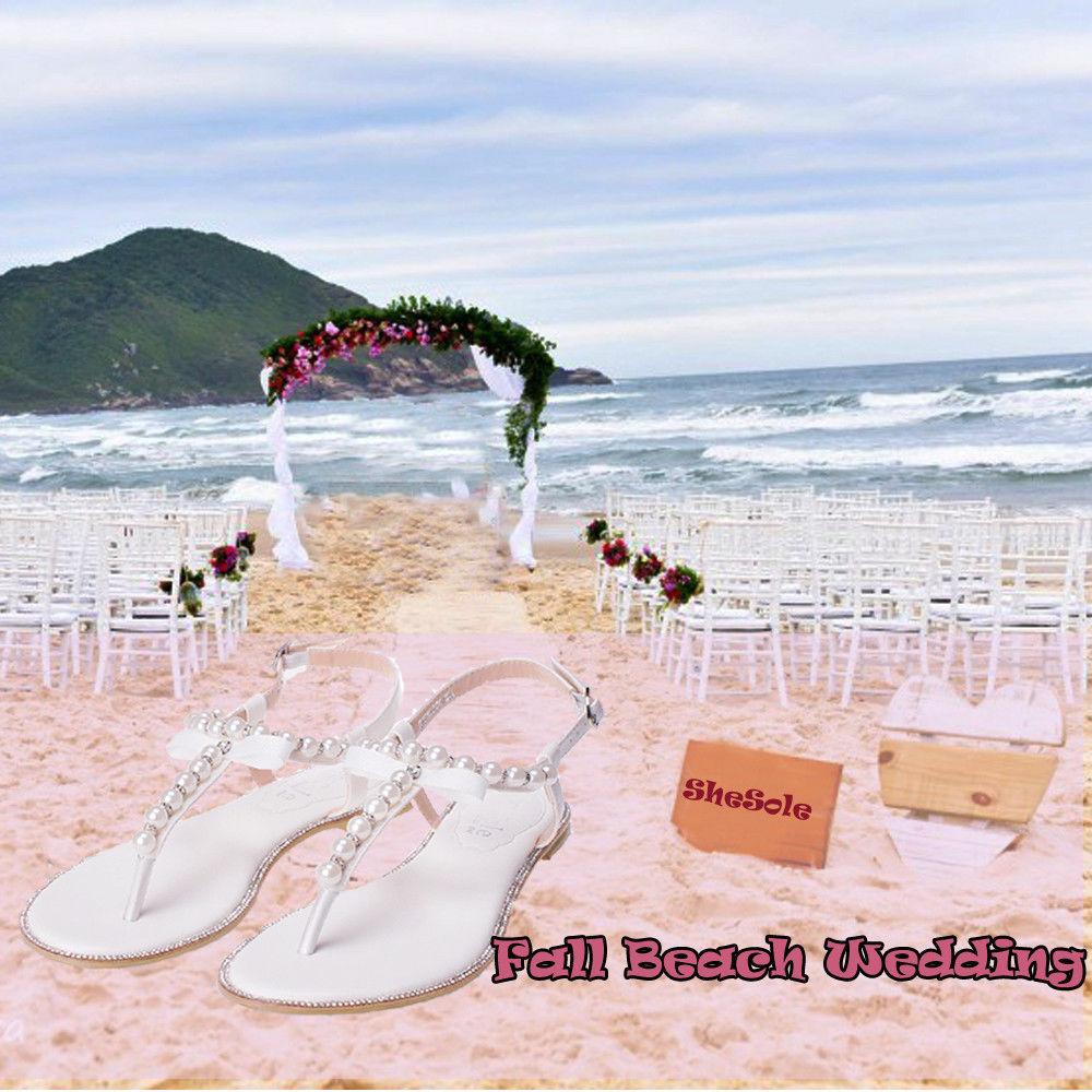 SheSole-Womens-Flat-Sandals-Flip-Flops-Beach-Wedding-Shoes-Pearl-T-strap-White