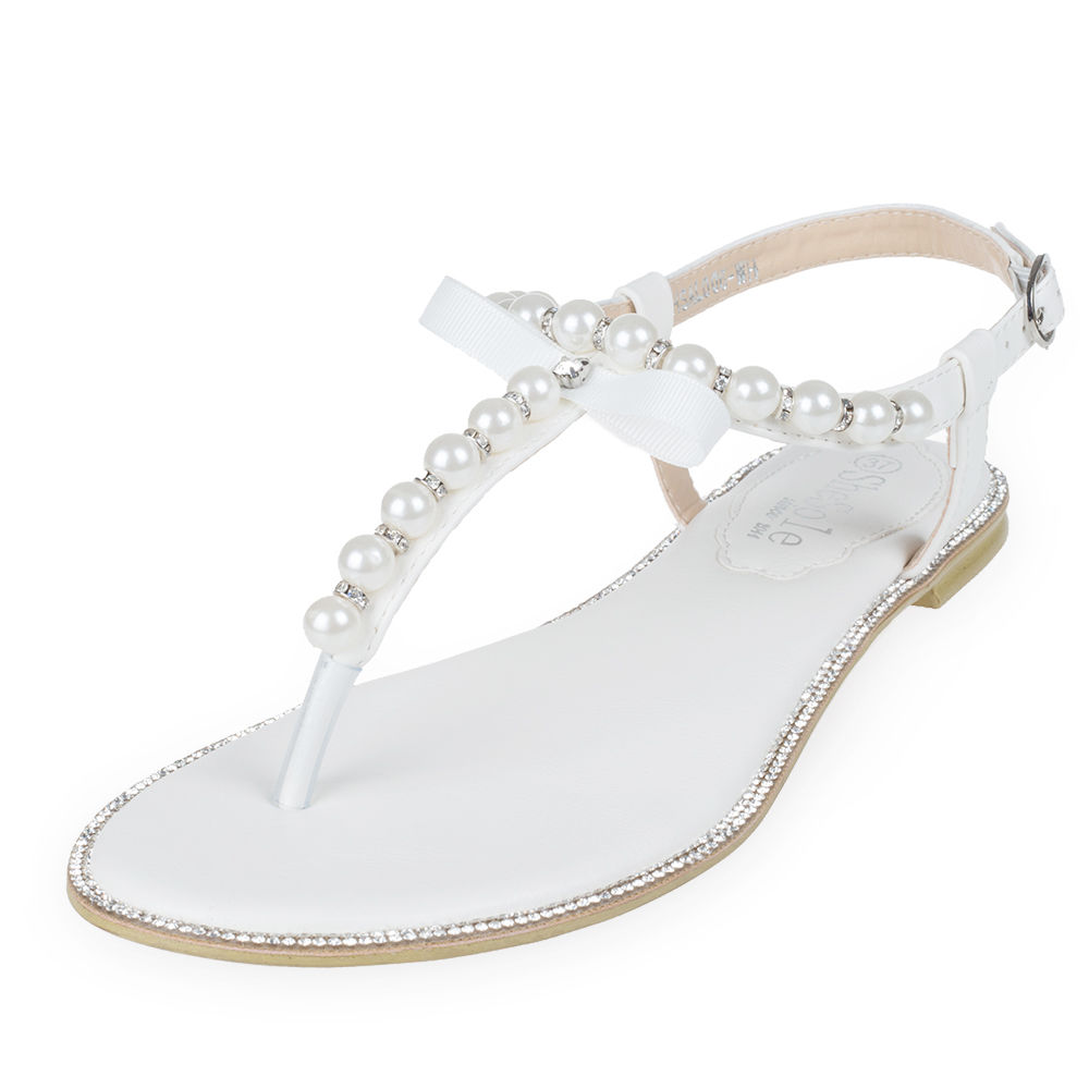 SheSole-Womens-Wedding-Shoes-Bridesmaid-Summer-Flat-Sandals-Pearls-T-strap
