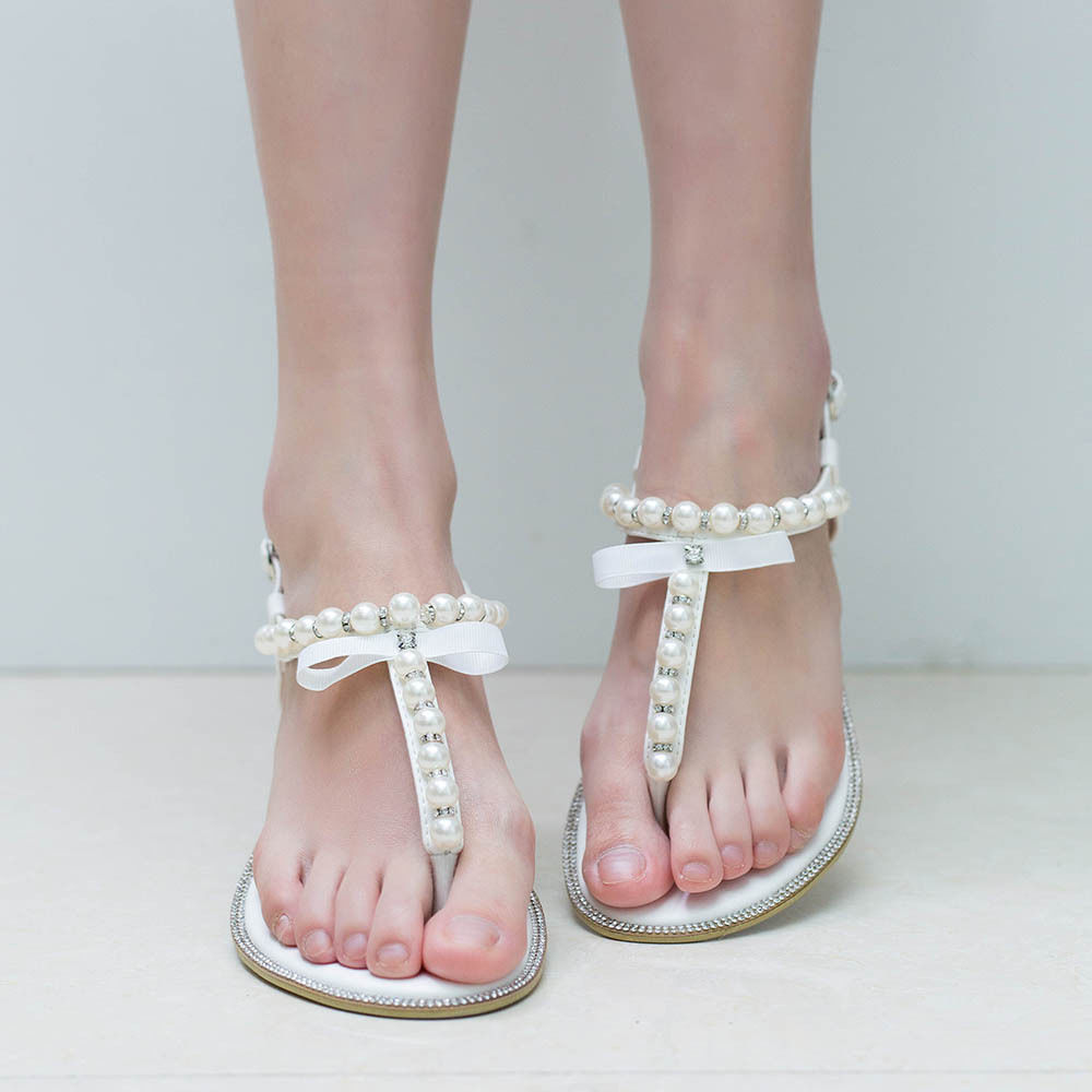 Details about SheSole Womens Flat Sandals Flip Flops Beach Wedding Shoes Pearl T strap White