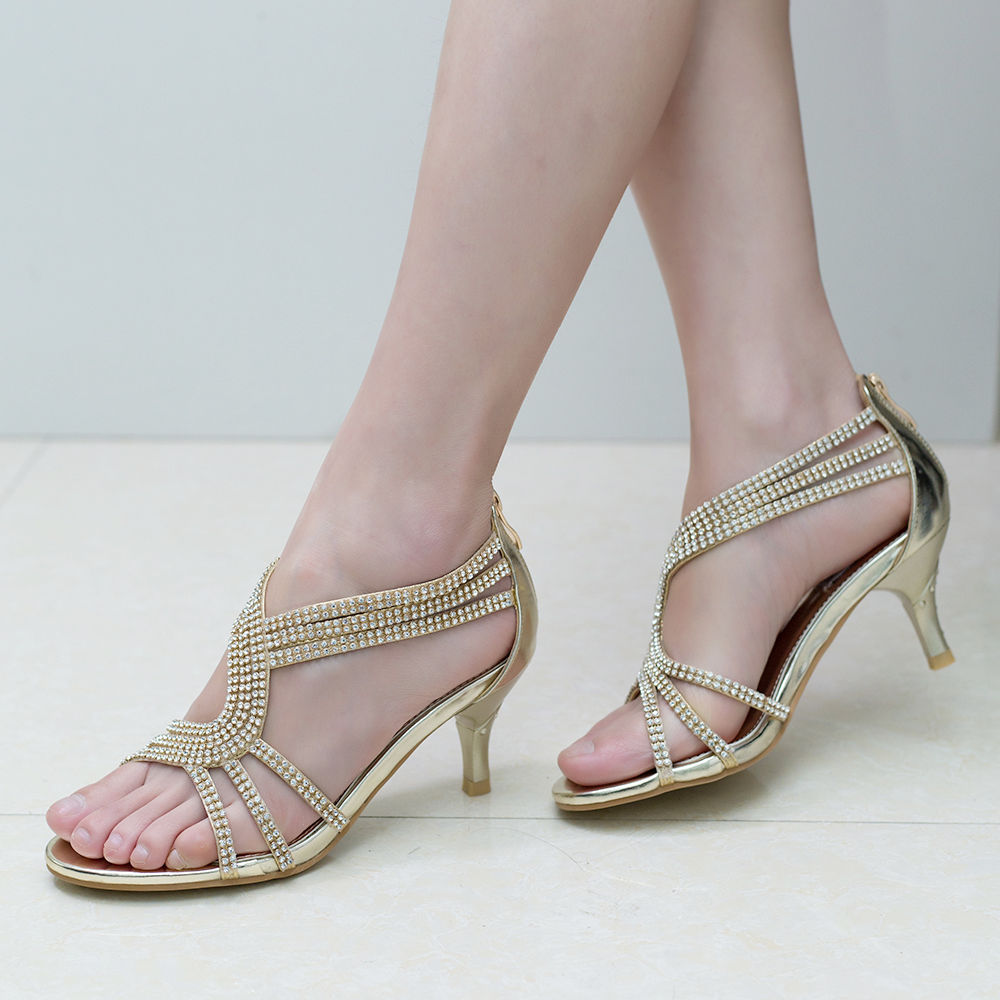 Womens-Ladies-Low-Kitten-Heel-Wedding-Glitter-Sandals-Strappy-Silver-Shoes thumbnail 15