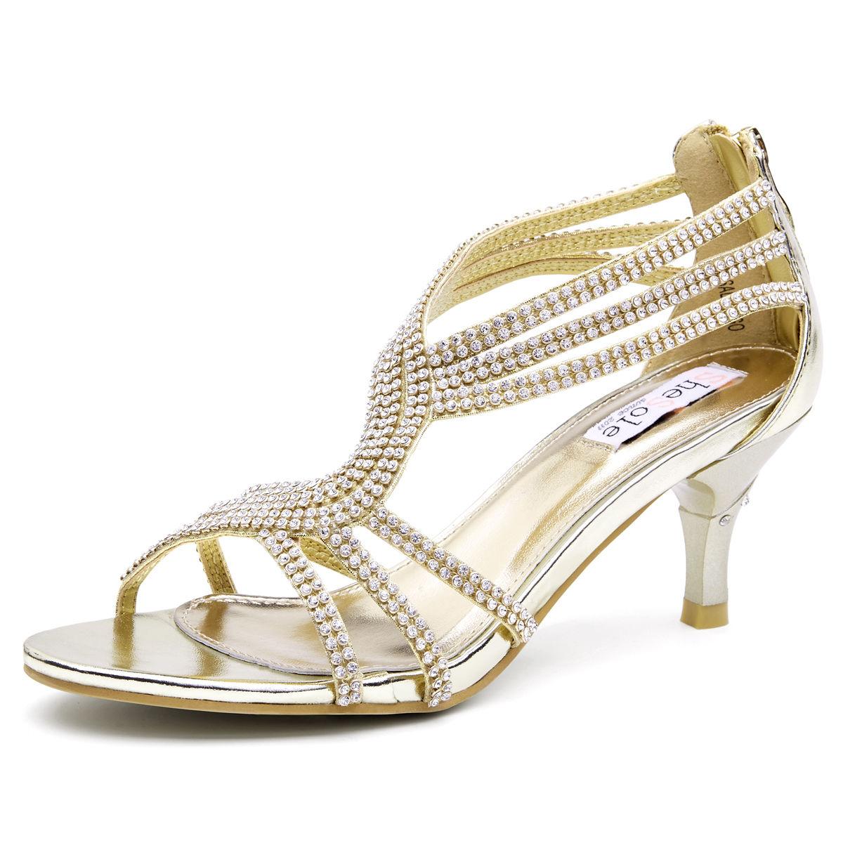 Womens Strappy Rhinestone Sandals Open Toe Heel Dress
