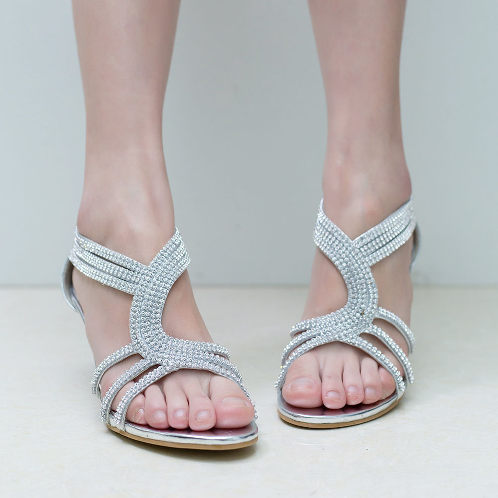 Womens-Ladies-Low-Kitten-Heel-Wedding-Glitter-Sandals-Strappy-Silver-Shoes thumbnail 27