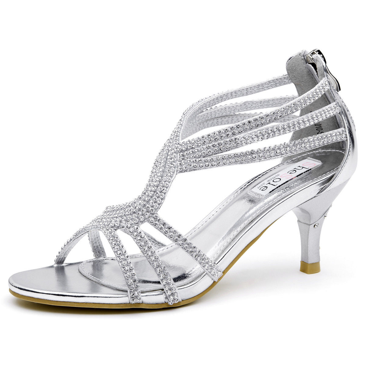 Womens-Ladies-Low-Kitten-Heel-Wedding-Glitter-Sandals-Strappy-Silver-Shoes thumbnail 30