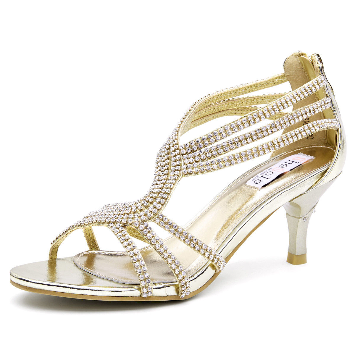 Womens-Ladies-Low-Kitten-Heel-Wedding-Glitter-Sandals-Strappy-Silver-Shoes thumbnail 17