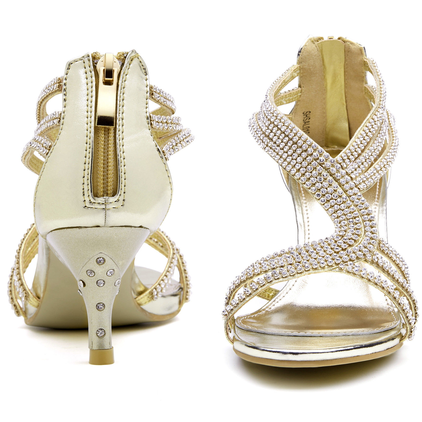 SheSole Womens Sandals Heels Shoes Crystal Silver Wedding ...