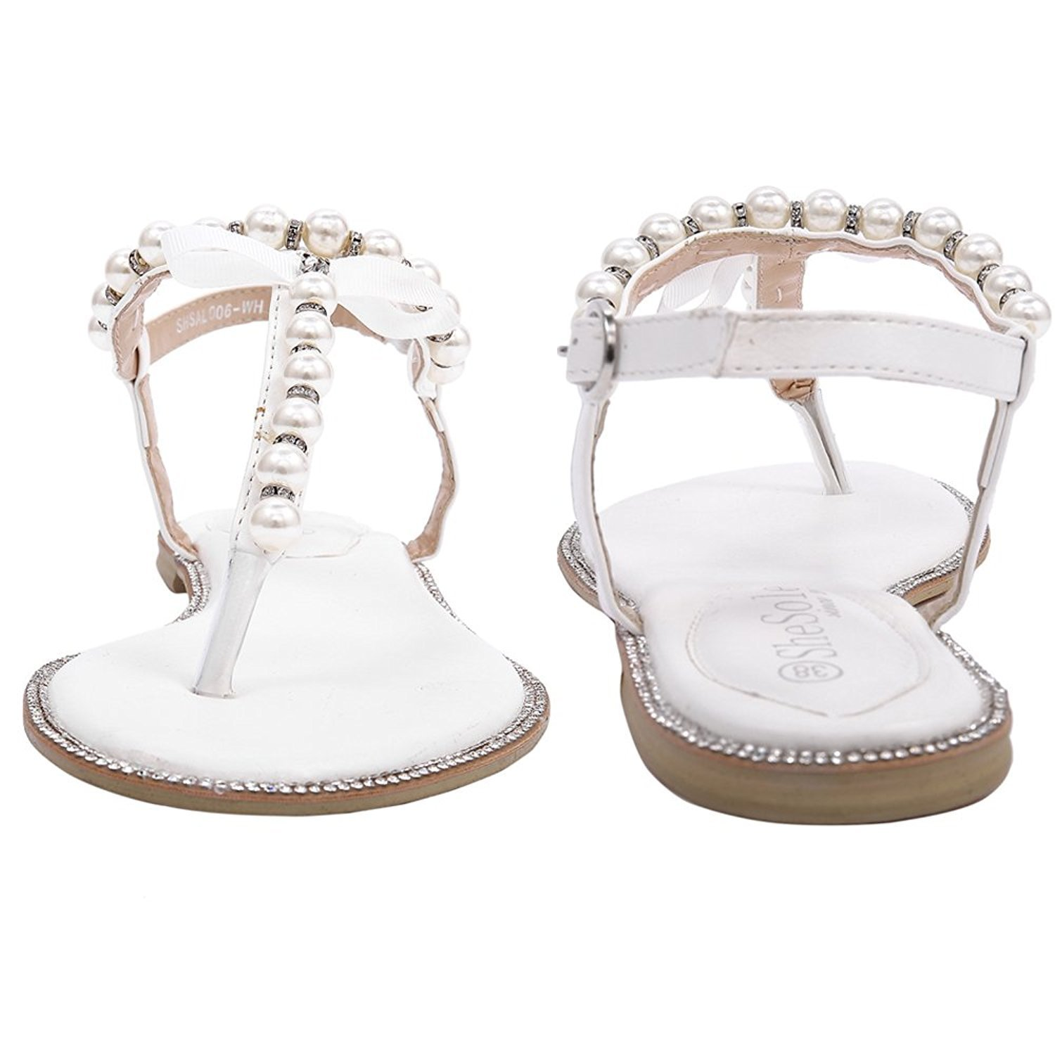 SheSole Womens Ladies White Flat Sandals Wedding Shoes T Strap Pearl ...
