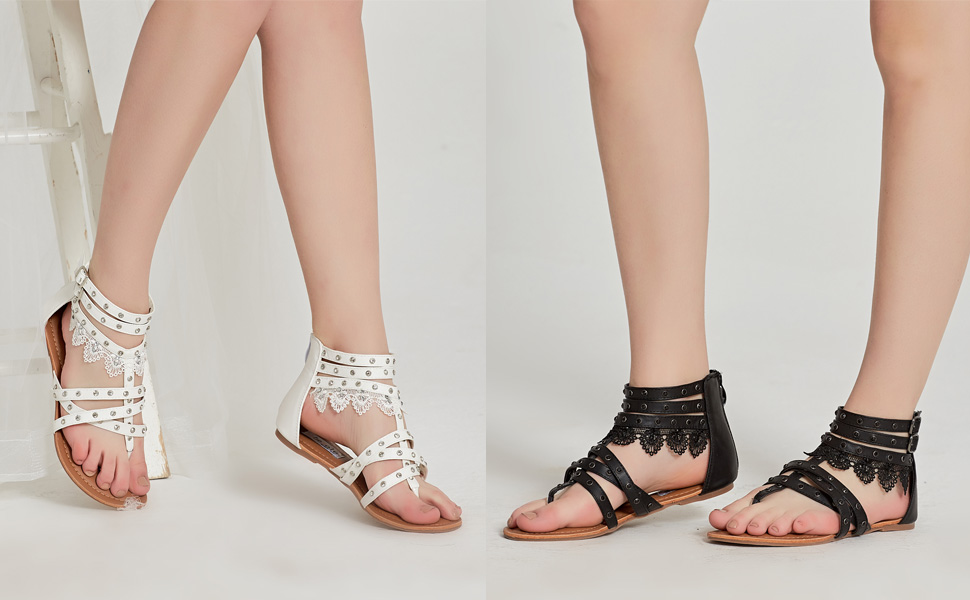 Details about SheSole Women's Summer Flat Gladiator Sandals Lace Thong Beach Shoes New Design
