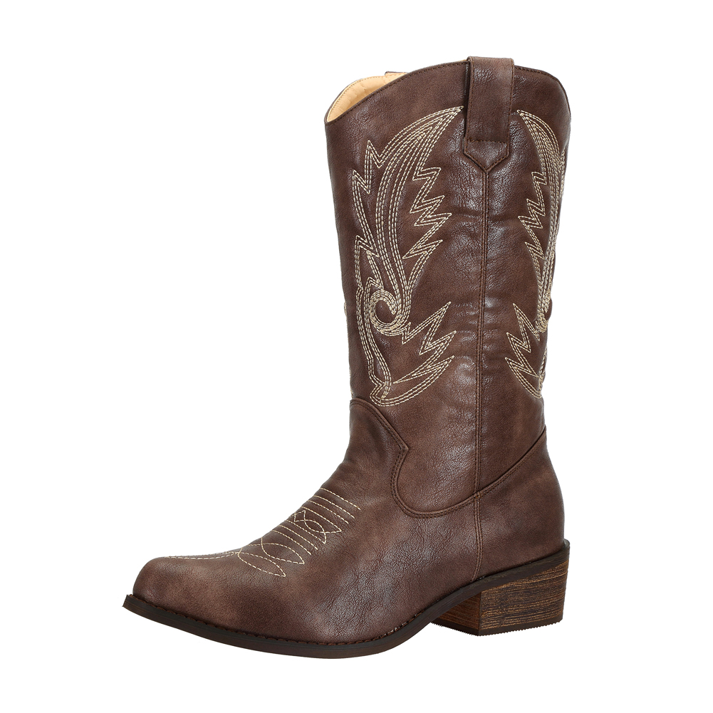 SheSole-Women-Cowboy-Cowgirl-Western-Boots-Mid-Wide-Calf-PU-Leather-Brown-Size thumbnail 9