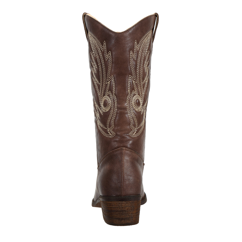 SheSole-Women-Cowboy-Cowgirl-Western-Boots-Mid-Wide-Calf-PU-Leather-Brown-Size thumbnail 12