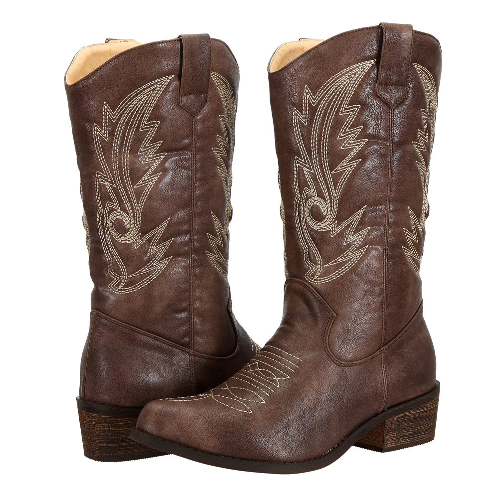 SheSole-Women-Cowboy-Cowgirl-Western-Boots-Mid-Wide-Calf-PU-Leather-Brown-Size thumbnail 10