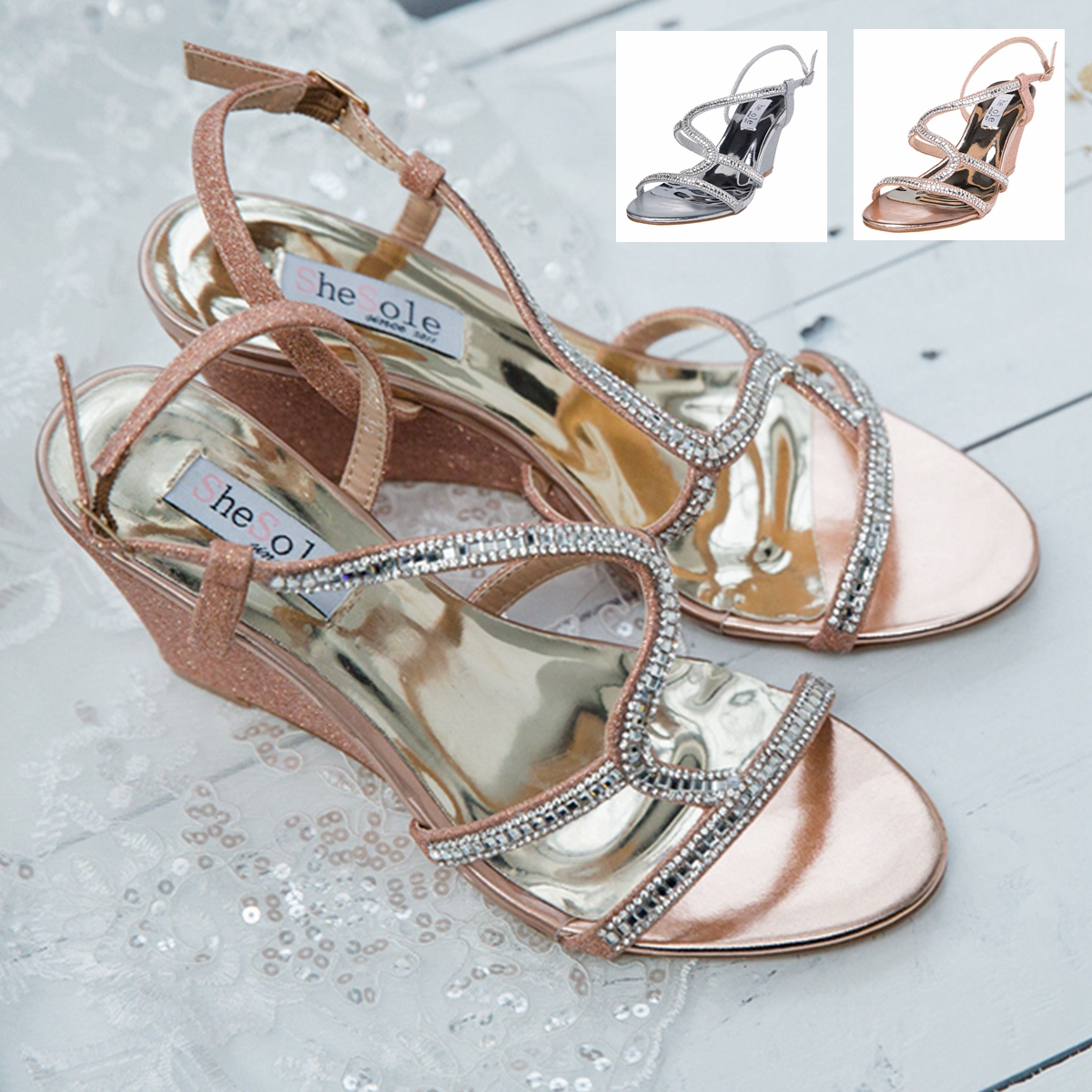 Image is loading Womens-Diamantes-Sandals-Sexy-Starppy-Wedge-Heel-Summer- ea63f54322c3