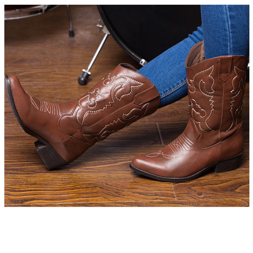 AU-SHIP-SheSole-Womens-Cowgirl-Western-Cowboy-Boots-Vintage-Bridal-Shoes