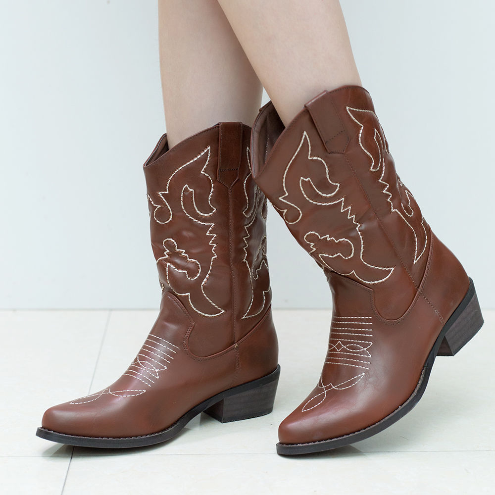 SheSole-Women-Cowboy-Cowgirl-Western-Boots-Mid-Wide-Calf-PU-Leather-Brown-Size thumbnail 28