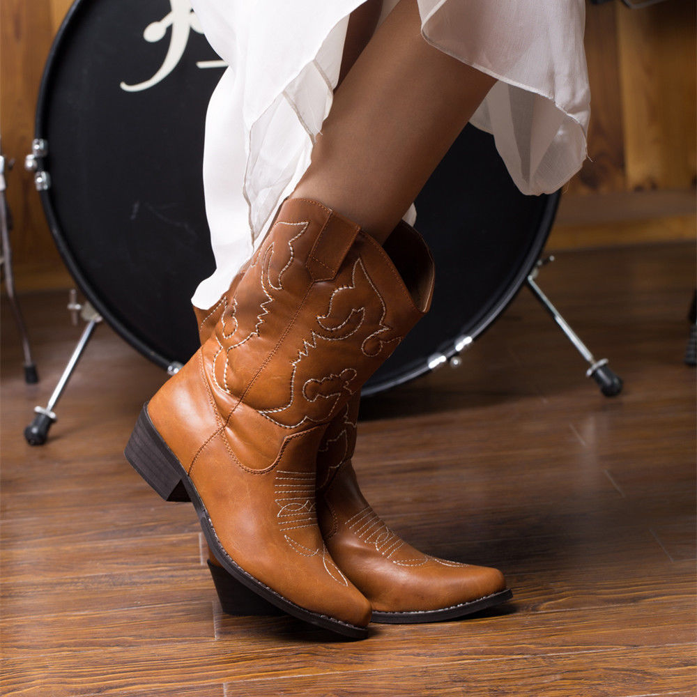 SheSole-Ladies-Cowboy-Cowgirl-Boots-Mid-Western-Heel-Wide-Calf-Wedding-Shoes