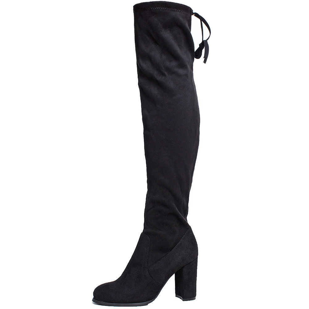 4b628231c1f Womens Thigh High Over The Knee BOOTS Chunky Heel Faux Suede Shoes Au6 Black