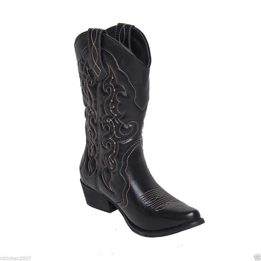 AU-FREE-SHIP-Womens-Ladies-Western-Cowboy-Cowgirl-Boots-Wedding-Shoes-Size-5-11