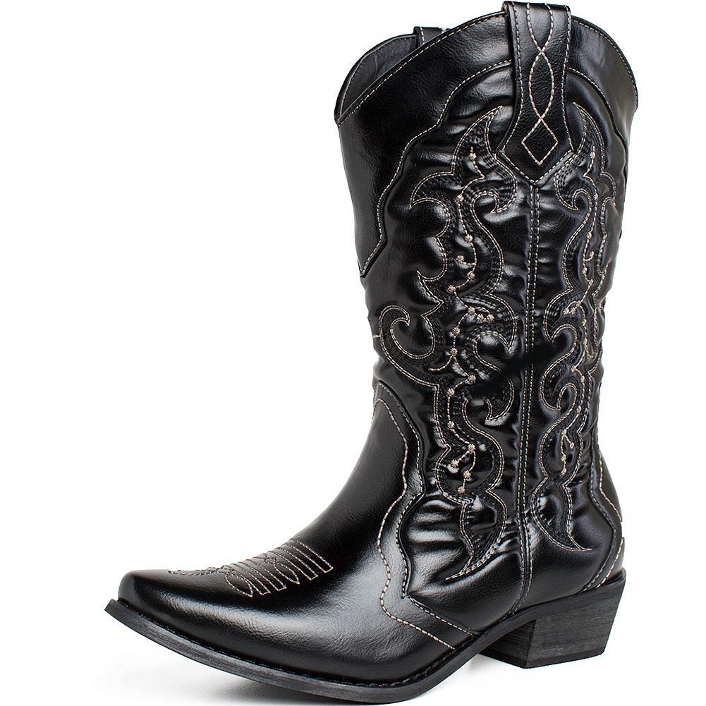 AU-SHIP-Womens-Block-Heel-Cowgirl-Western-Cowboy-Boots-PU-Leather-Wedding-Shoes