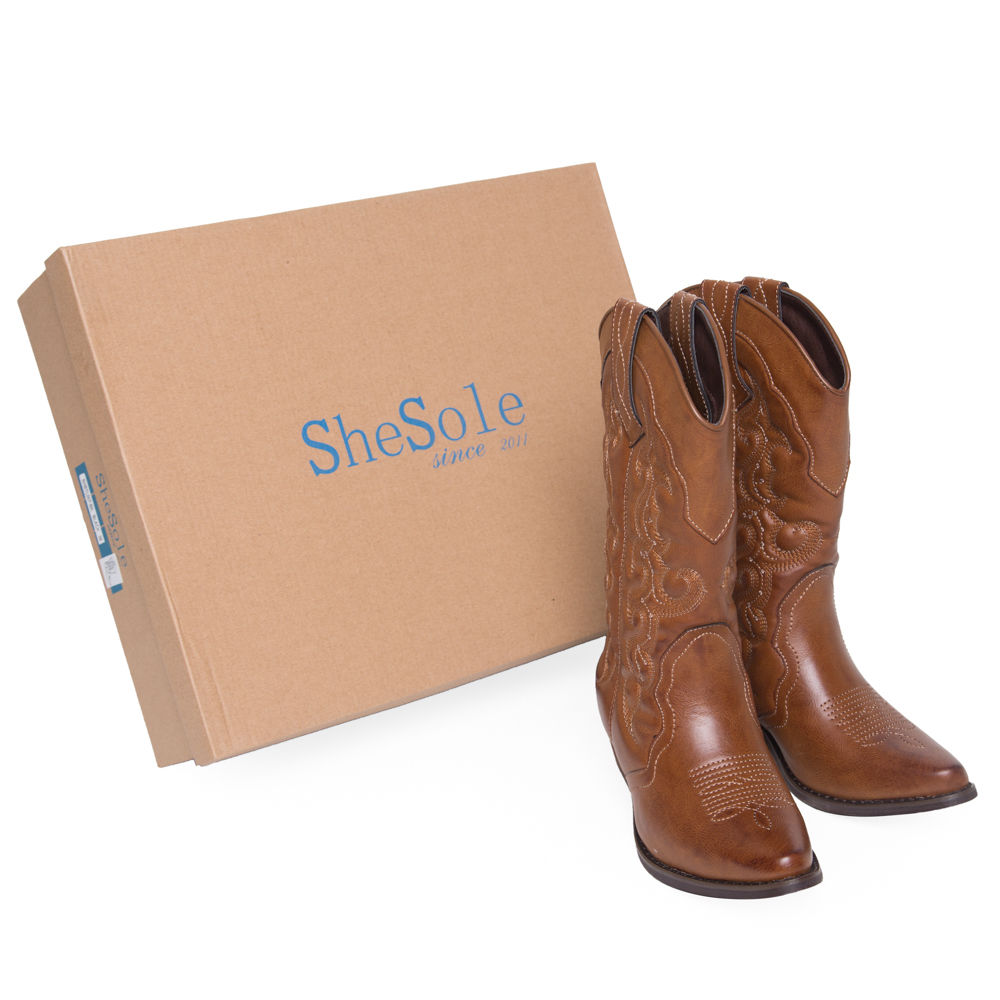 SheSole-Womens-Western-Cowboy-Boots-Heels-Winter-Sweater-Mid-Calf-Vintage-Shoes
