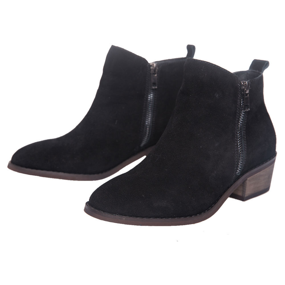 a5871c05083 SheSole Womens Ankle Boots Stacked Heels Real Leather Suede Zip ...