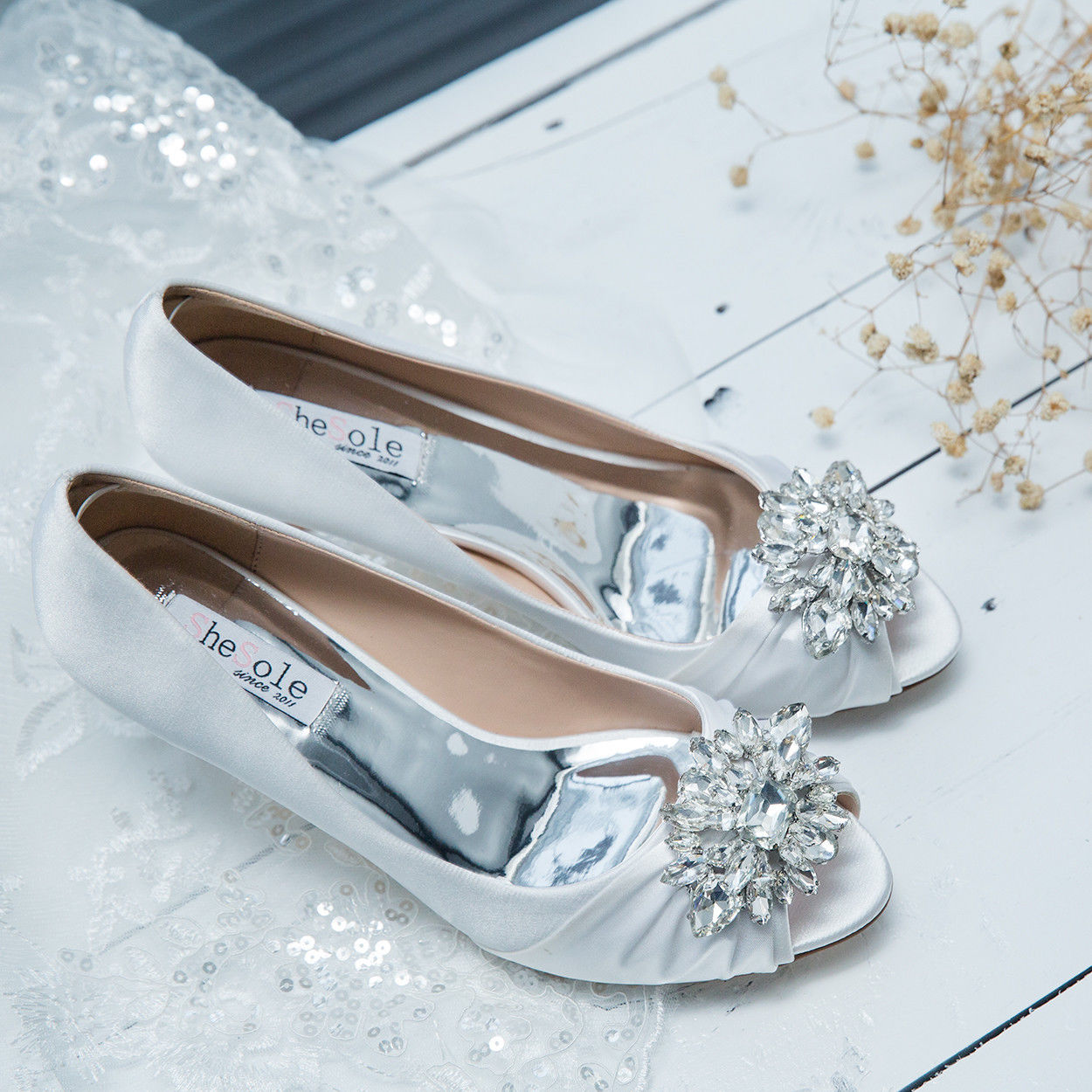 SheSole Ladies Wedding Bridal Evening Prom Shoes Open Toe Heels ...