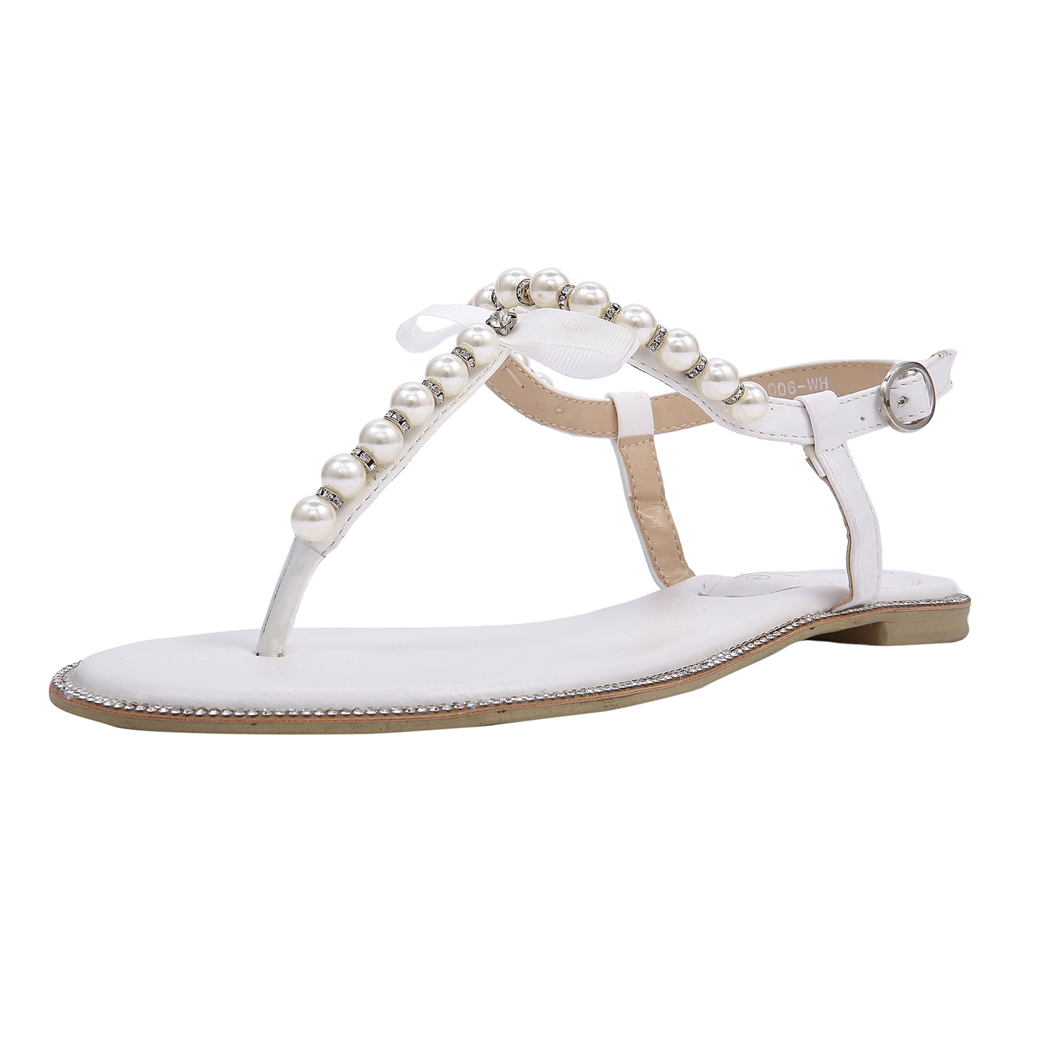 Details about SheSole Flat Sandals Flip Flops Beach Wedding Shoes Pearl Ankle Strap White New!