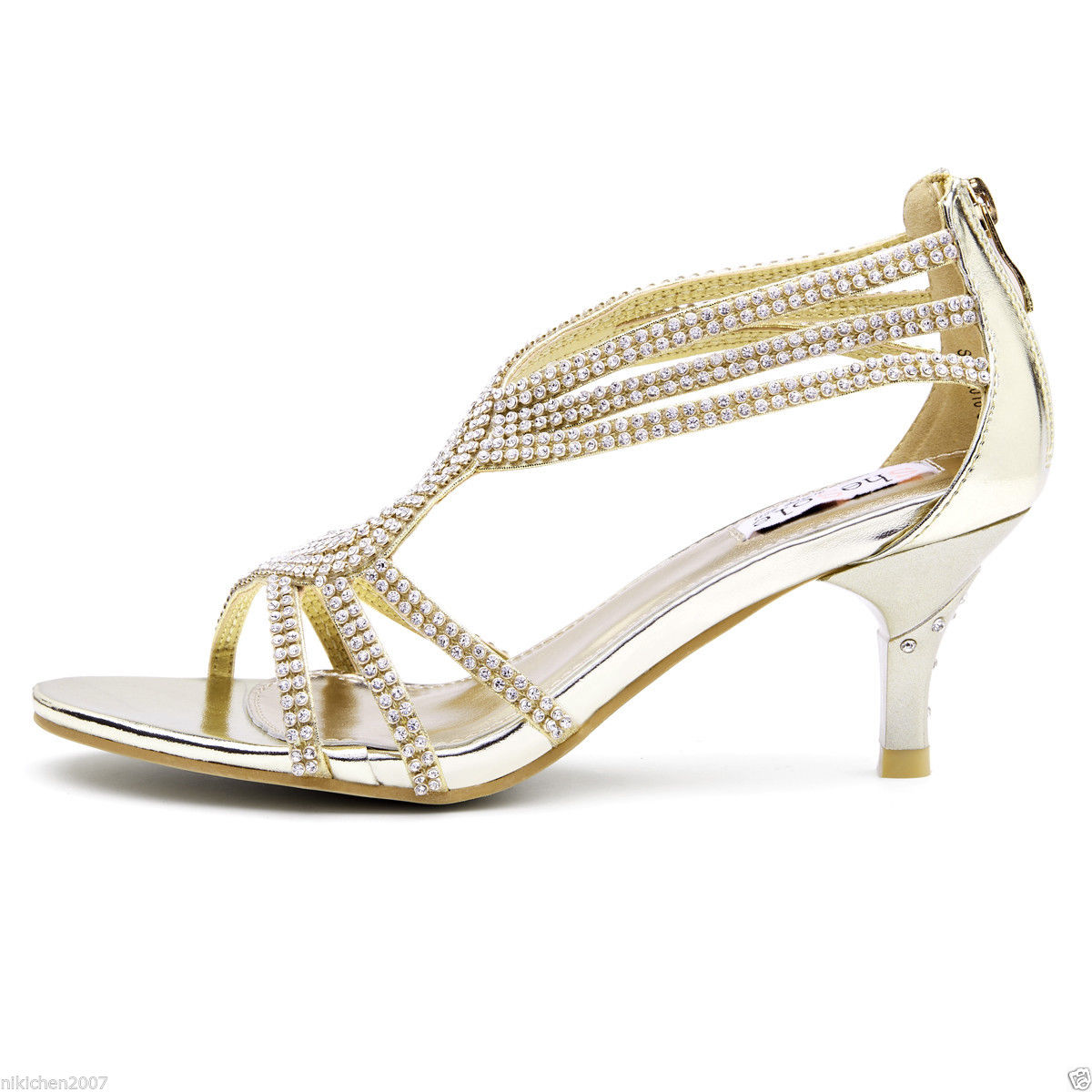 Shesole Womens Gold Metallic Kitten HEELS Strappy Diamantes Zip ... ed2c557f25a8