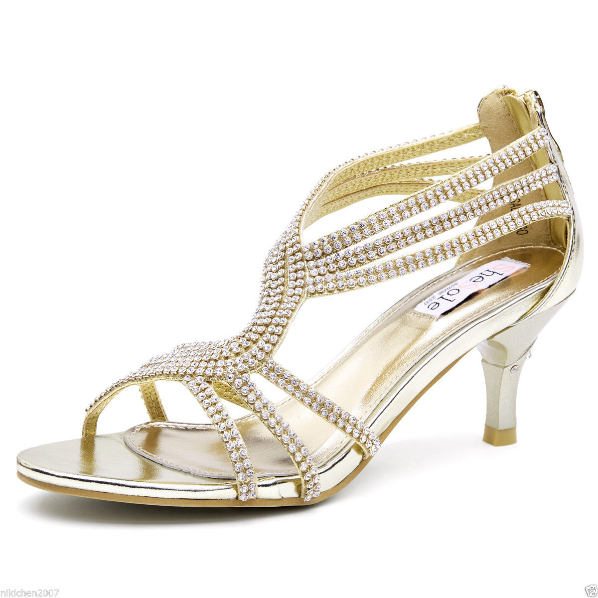 Details about SheSole Womens Low Heel Strappy Sandals Rhinestone Wedding Shoes Silver Gold