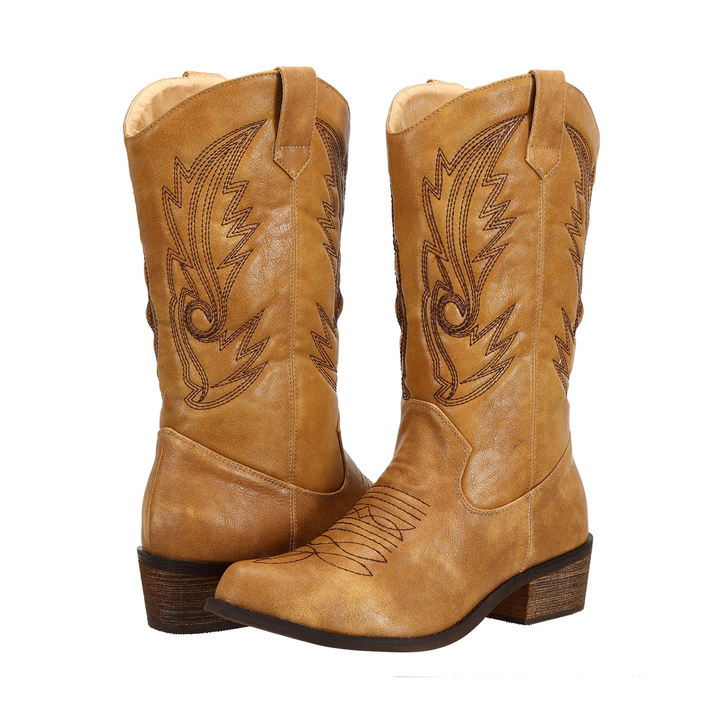 outlet store sale enjoy discount price 100% satisfaction guarantee Details about SheSole Womens Cowgirl Western Cowboy boots Vintage Winter  Shoes Brown Tan