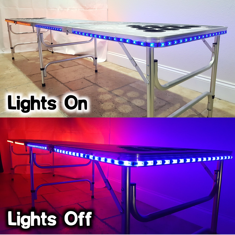 8-Foot-Beer-Pong-Table-w-OPTIONAL-Cup-Holes-amp-LED-Glow-Lights-America thumbnail 27