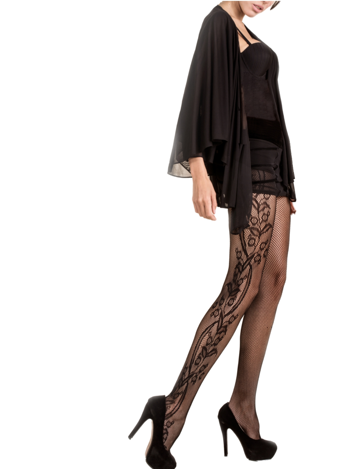 ac1af5c4a Killer Legs Women s Plus Size Black Fishnet Pantyhose Side Whimsical Floral  Inset 168YD041Q Queen