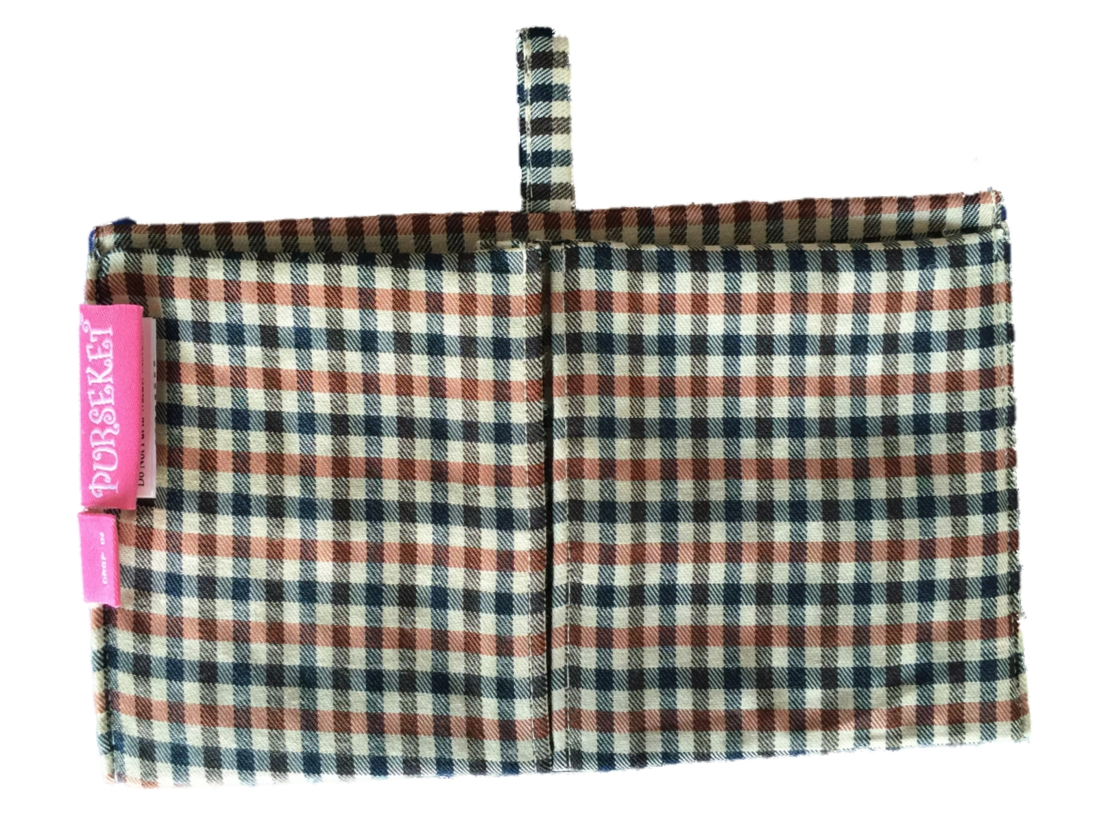 Purseket Mini Purse Organiser Insert with Gusseted Pockets Drop In Glen Check