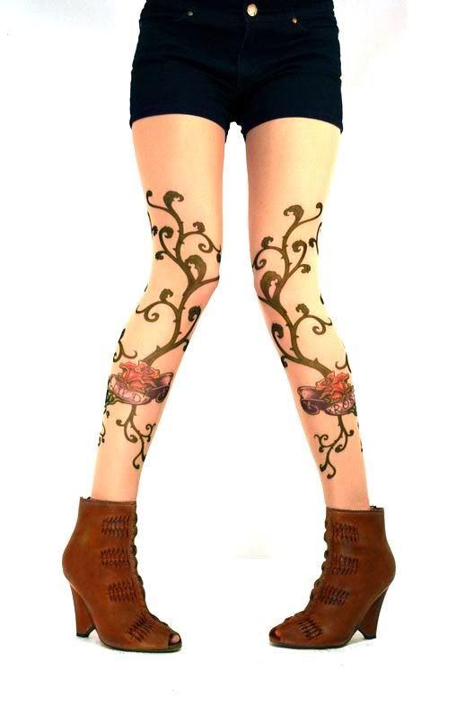 e4bf5256a0a93 Wild Rose Tattoo Leggings Tan Mesh Footless Tights Vine Black Lace Hip Band