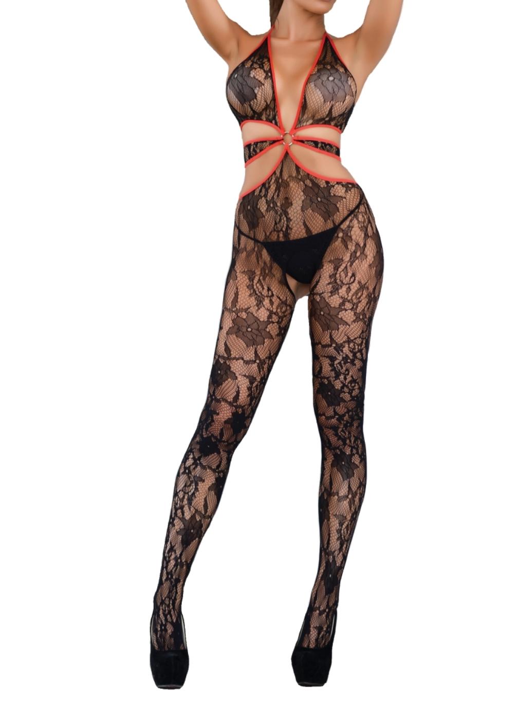 7e8e01b51f0 Killer Legs Fishnet Plus Size Halter Bra Red Satin Trim Lace Open Crotch  Crotchless Body Stocking 818JT158Q Queen