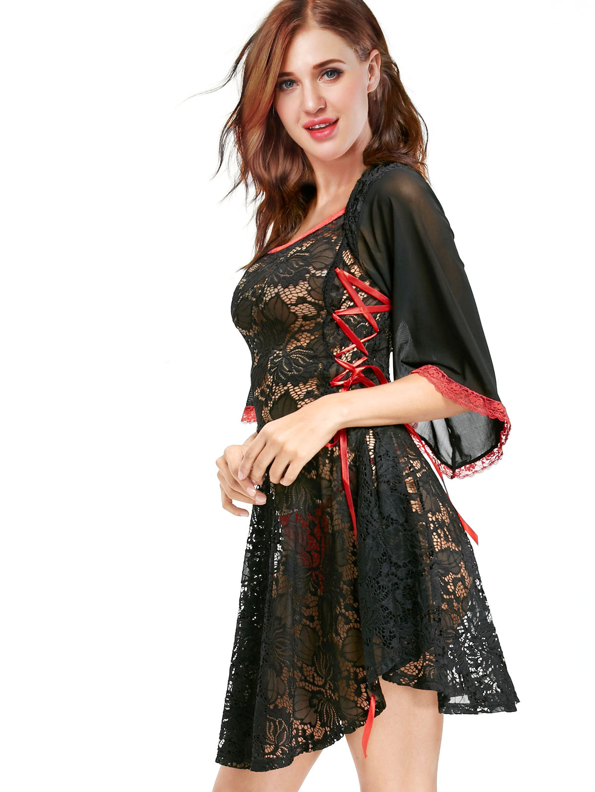 Womens Mesh Floral Lace Gown Nightdress Babydoll Lingerie Nightie ...