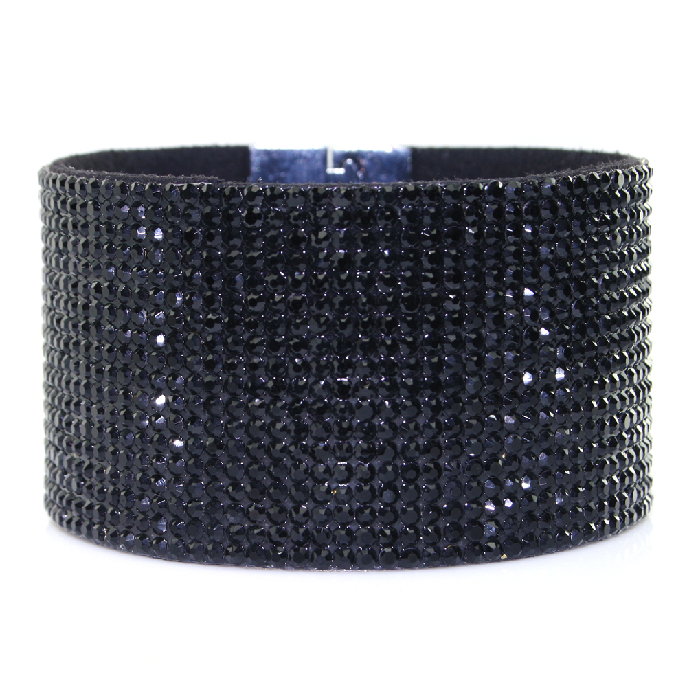 0709625d5 Details about Shiny Crystal Rhinestone on Korean Velvet Leather with Magnet  Clasp Bracelet