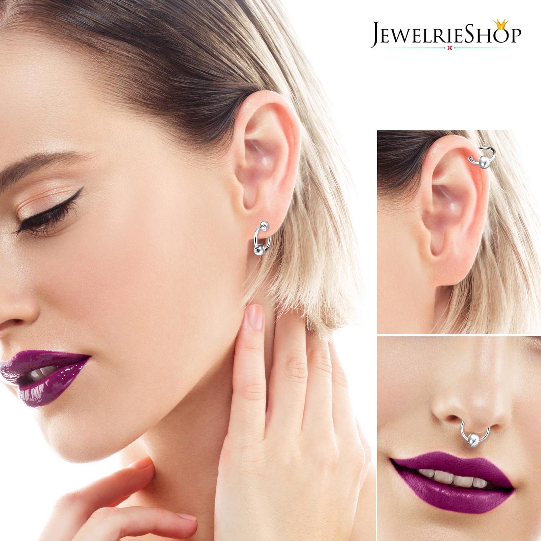 16 pcs JewelrieShop Fake Nose Ring Hoop Clip on Earrings Fake Septum Non Piercing Spring Hoop Earrings Lip Ring Fake Cartilage Earrings for Women Girl