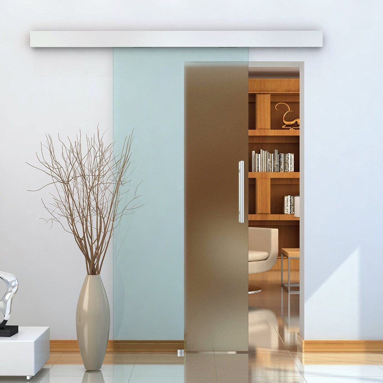 Homcom porta scorrevole con binario silenzioso e maniglia in vetro satinato ebay - Porta scorrevole con vetro ...