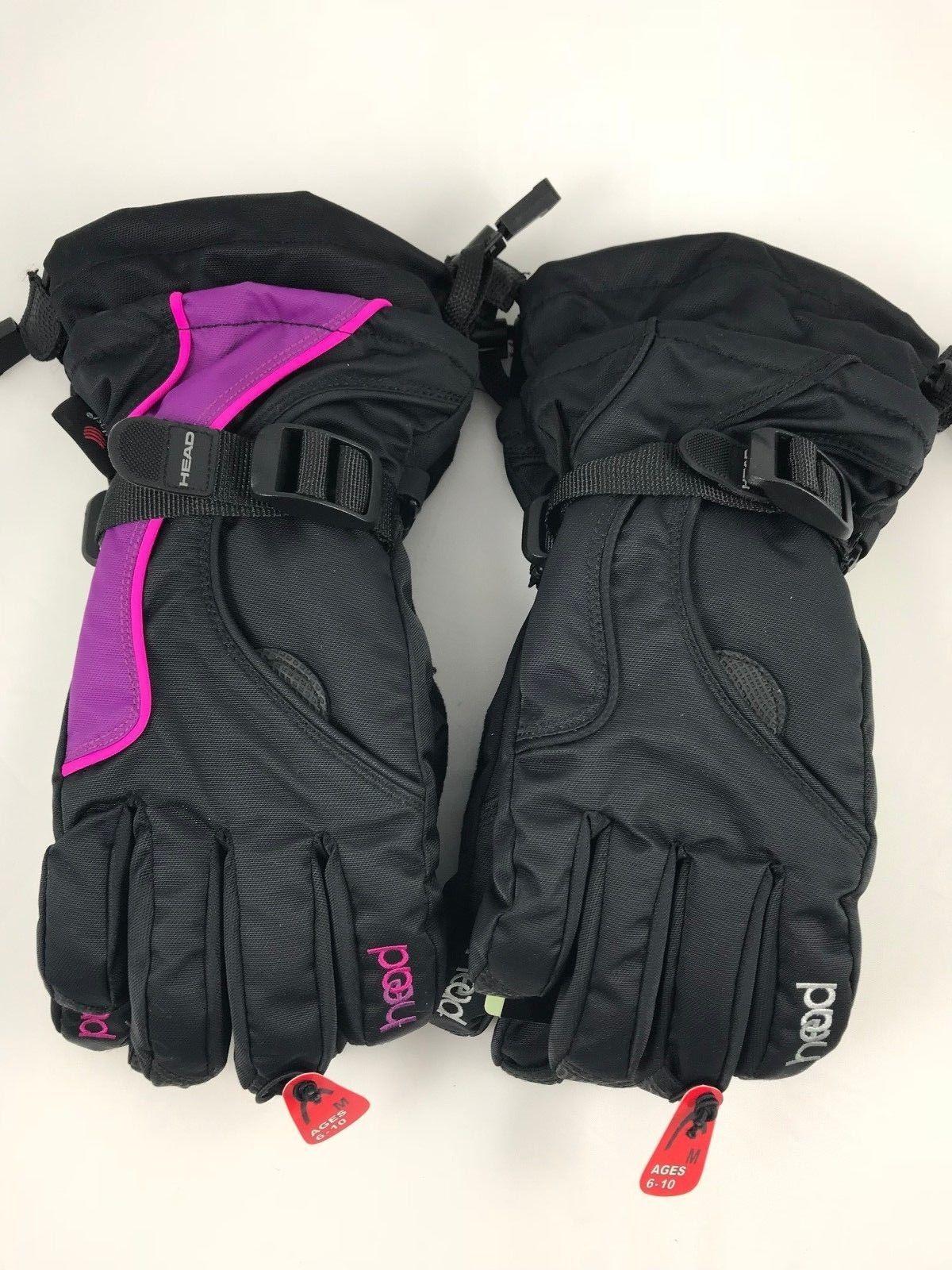 HEAD Jr Ski Gloves With Pocket Black purple pink Dupont Sorona