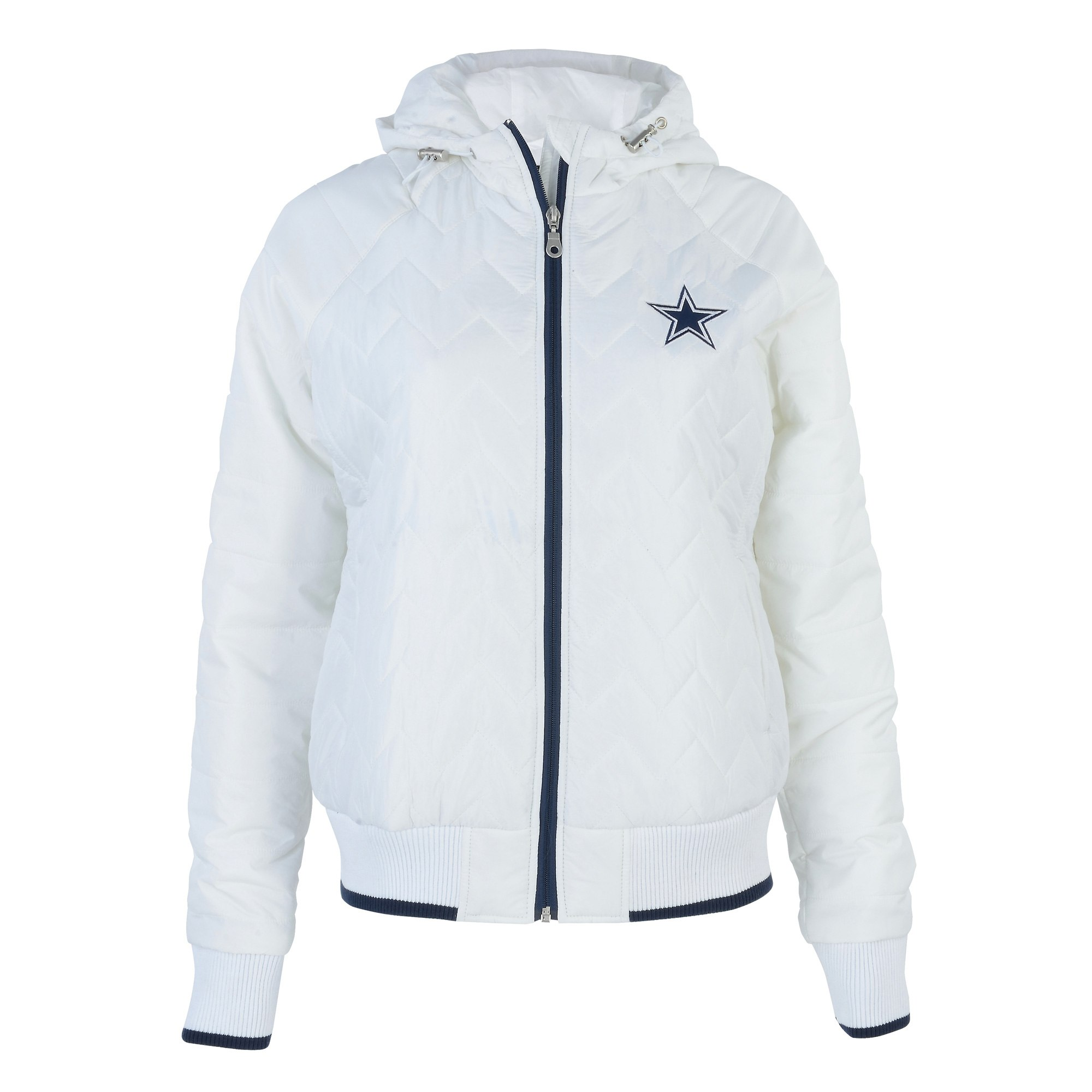 Dallas Cowboys Women s White Drop Back Quilted Full-Zip Jacket - XS ... b2c840b0c